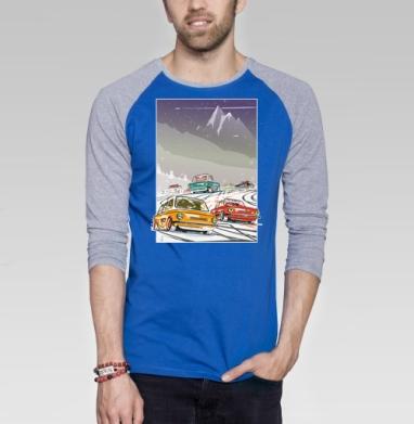 Ралли винтаж зимняя ночь - Футболка мужская с длинным рукавом синий / серый меланж