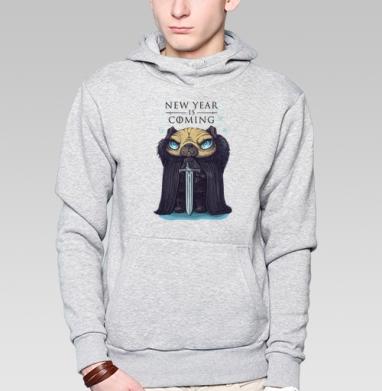 Дозорный новогодний пес - Толстовка мужская, накладной карман серый меланж