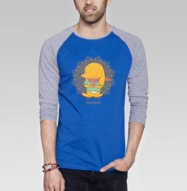 Намасте  солнцу  - Футболка мужская с длинным рукавом синий / серый меланж