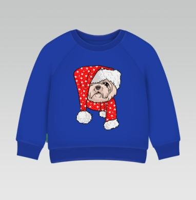 Санта пес - Cвитшот Детский Синий 320гр, стандарт