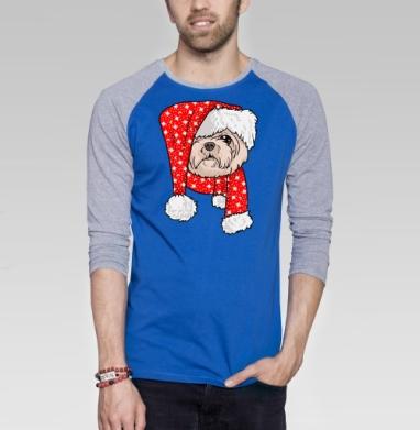 Санта пес - Футболка мужская с длинным рукавом синий / серый меланж