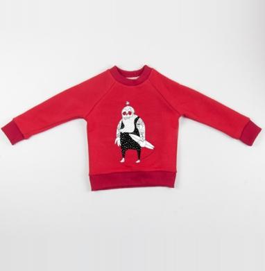 Cвитшот Детский красный 340гр, теплый - СЕРФЕР