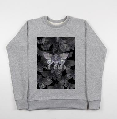 Бабочка готика, Свитшот мужской серый-меланж 240гр, тонкий