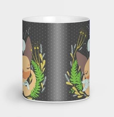 Ушастый малыш и тряпичный котик - Кружки с логотипом