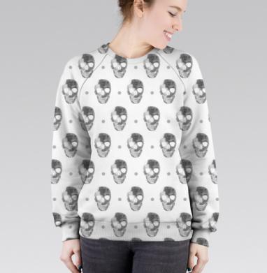 Cвитшот женский 3D - Полная запечатка череп на белом
