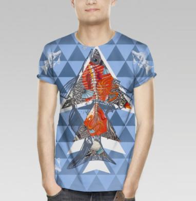 Анатомическая рыба-треугольник, Футболка мужская (полная запечатка)