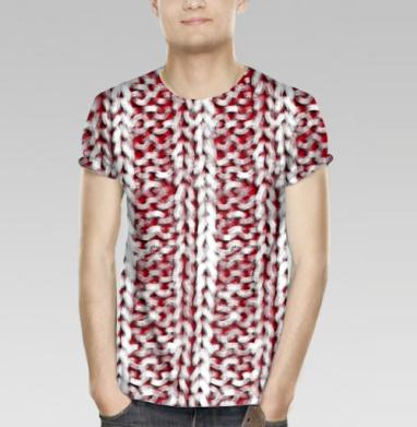 Футболка мужская 3D - Красно-белый вязаный свитер