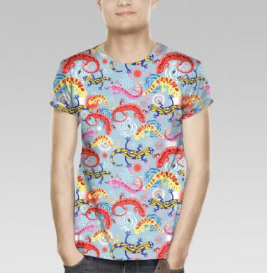 Футболка мужская (полная запечатка) - Узор из разноцветных саламандр