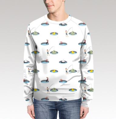 Свитшот мужской без капюшона (полная запечатка) - На рыбалке