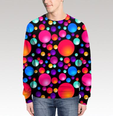 Свитшот мужской 3D - Разноцветные шарики на черном фоне