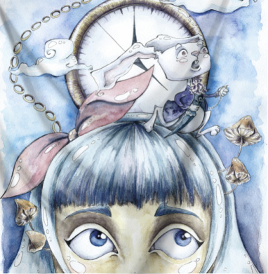 Знакомство с белым кроликом - Печать на текстиле