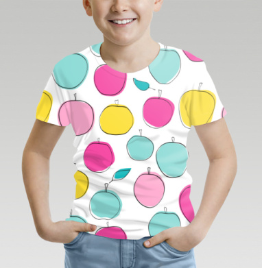 Футболка детская (полная запечатка) - Кислотные яблоки
