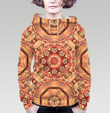 Толстовка женская с карманом (полная запечатка) - Красная мандала
