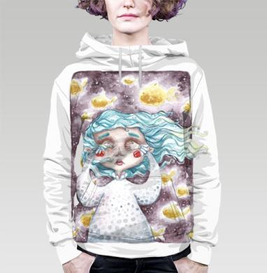 В моем сне плавали золотые рыбы, Толстовка женская с карманом (полная запечатка)