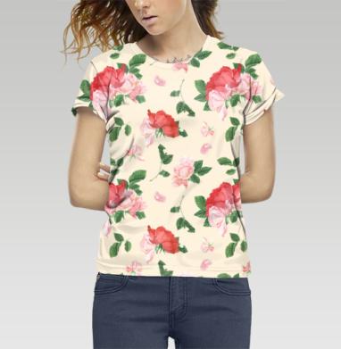 Футболка женская c полной запечаткой - Розовые розы на кремовом фоне