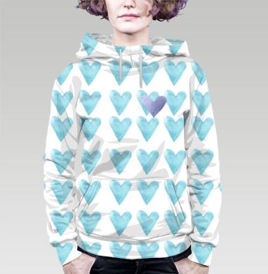 Голубое сердце, Толстовка женская с карманом 3D