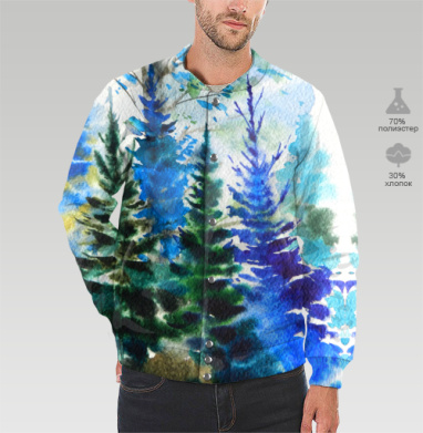 Хвойный синий лес, Бомбер мужской 3D