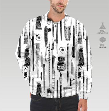 Бомбер мужской 3D, белый - Интернет магазин футболок №1 в Москве