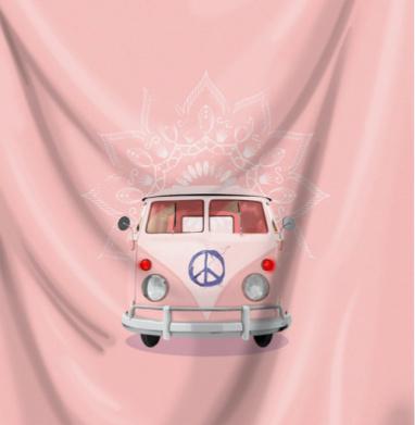 Розовый Хиппи Автобус - Череп