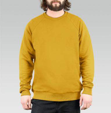 БЕЗ ПРИНТА - Свитшот мужской горчично-желтый