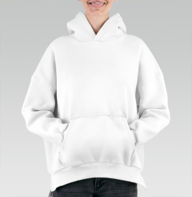 БЕЗ ПРИНТА - Hoodie Mjhigh White, утепленная купить в Москве | Теплые худи белого цвета с принтами и надписями в интернет-магазине Maryjane по лучшей цене