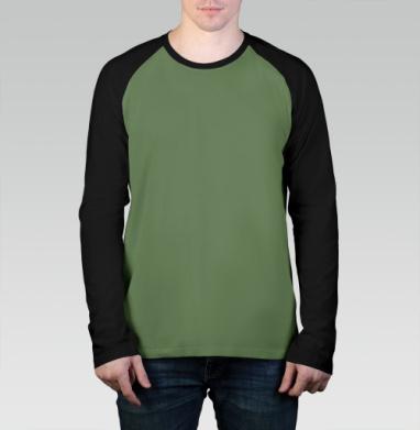 БЕЗ ПРИНТА - Лонгслив мужская футболка реглан с длинным рукавом олив/черный