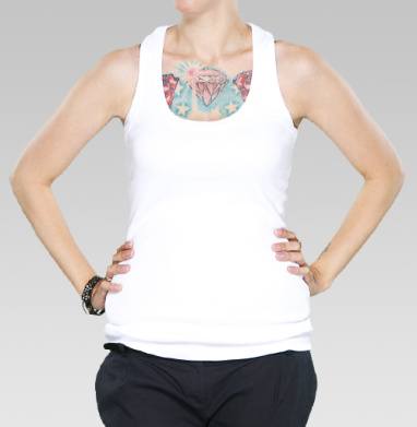 БЕЗ ПРИНТА - Купить модную белую женскую майку-борцовку с принтом в интернет-магазине Мэриджейн