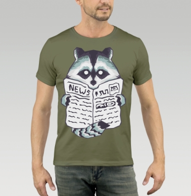 Raccoon & Newspaper, Футболка мужская хаки 180гр