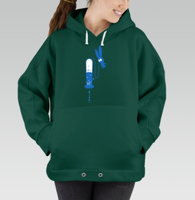 High Enough?, Hoodie Oversize Green, утепленная