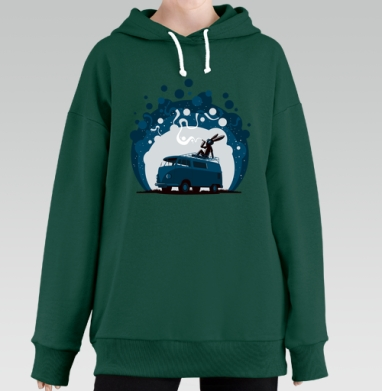 Night Scene '11, Hoodie Long Oversize Green