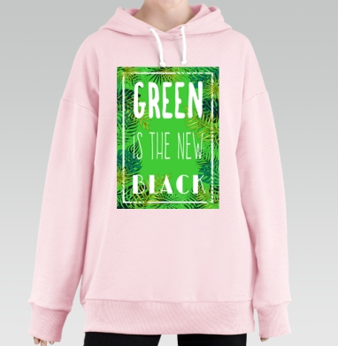 Green is the new black, Hoodie Long Oversize Pink, утепленная