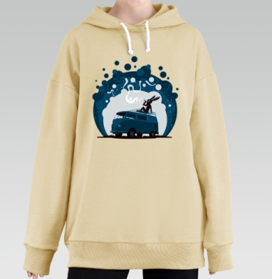 Night Scene '11, Hoodie Long Oversize Bej, утепленная