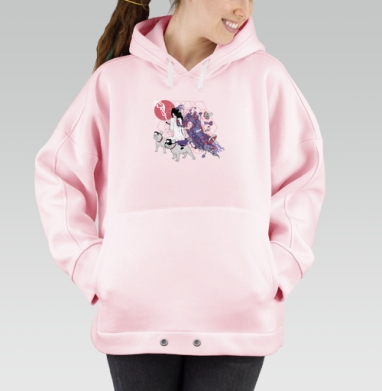 Dogs-guide, Hoodie Oversize Pink, утепленная