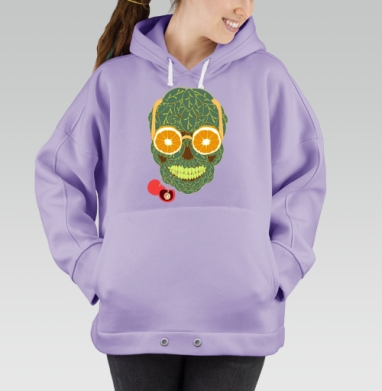 Life is beautiful, Hoodie Oversize Lavanda, утепленная