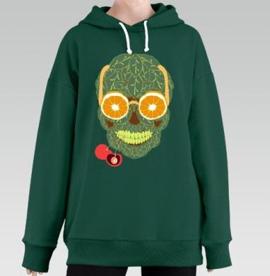 Life is beautiful, Hoodie Long Oversize Green