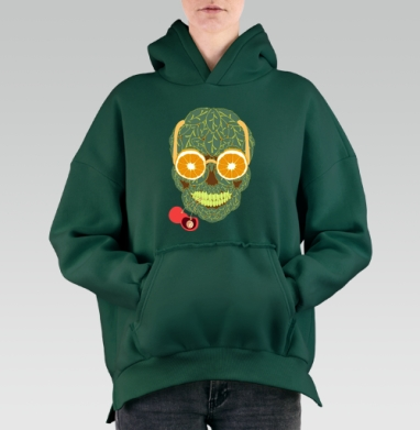 Life is beautiful, Hoodie Mjhigh Green, утепленная