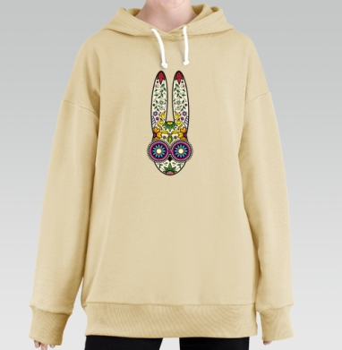 Day of the Dope, Hoodie Long Oversize Bej, утепленная