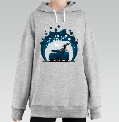 Night Scene '11, Hoodie Long Oversize Melang, утепленный